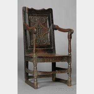 Carved Oak Wainscot Armchair