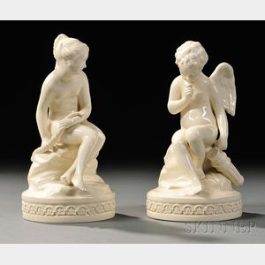 Pair of Wedgwood Queen's Ware Cupid and Psyche Figures