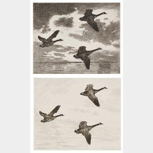 Frank Weston Benson (American, 1862-1951)      Two Impressions of Cloudy Dawn