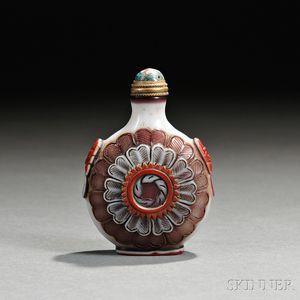 Triple Overlay Peking Glass Snuff Bottle