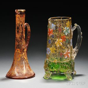 Two Pieces of Moser-type Gilded and Enameled Glass