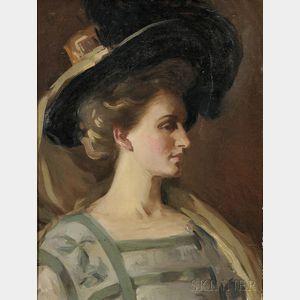 Elizabeth Vila Taylor Watson (American, 1863-1949)    Profile of a Woman with Portrait Hat