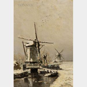 Louis Apol (Dutch, 1850-1936)      Molen in Winter