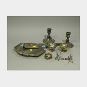 Pairpoint Silver Plated Pair of Salt Urns, Pair of Candle Holders, Three Rests, Two Crumbers and a Ruffled Salt.