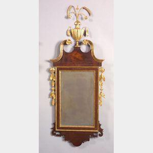 Federal Mahogany Inlaid and Gilt-gesso Mirror