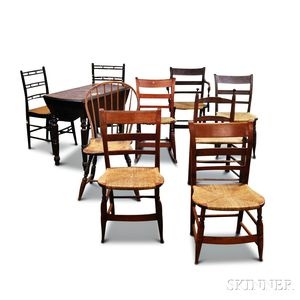 Nine Assorted 19th Century Chairs and a Walnut Drop-leaf Kitchen   Table
