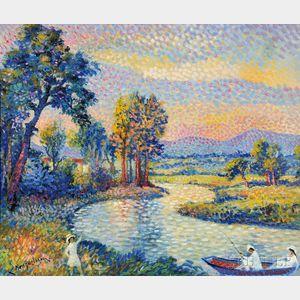 Lucien Neuquelman (French, 1909-1988)      Bords de L'allier, La Pèche en rivière