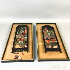 Pair of Framed Chinese Reverse-painted Screen Panels