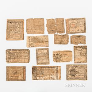Fourteen Pieces of Continental and Colonial Currency