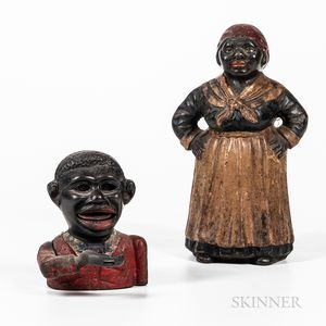 Two Polychrome Cast Iron Figural Banks