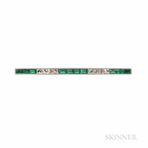 Art Deco Platinum, Emerald, and Diamond Bar Pin