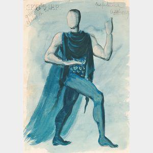 Hugh Stevenson (British, 1910-1956)      Costume Design for Anthony Tudor as Neptune   in The Planets