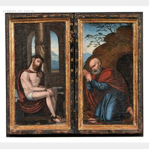 Flemish School, 16th Century      Devotional Diptych: Christ with the Symbols of the Passion