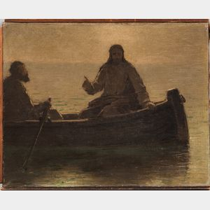John Ferguson Weir (American, 1841-1926)      Christ Preaching in a Boat