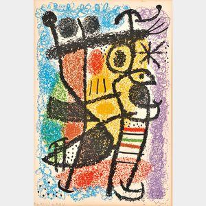"Joan Miró (Spanish, 1893-1983)      Plate   from the CATALOGUE DE L'EXPOSITION ""CARTONES,"""