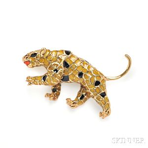 18kt Gold and Plique-a-Jour Enamel Leopard Brooch, Andrew Gates
