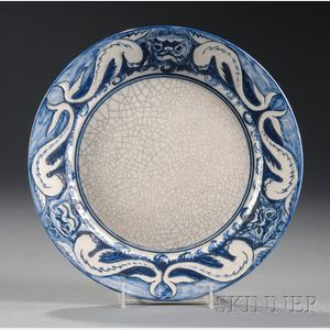 Chelsea Pottery Dolphin and Mask Plate
