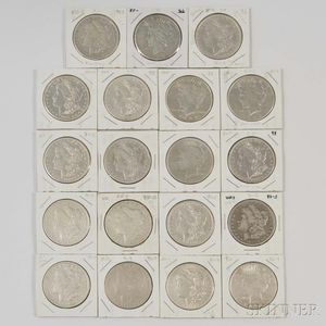 Nineteen Morgan and Peace Dollars