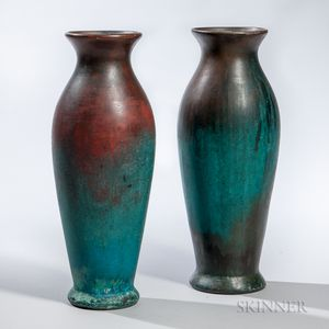 Two Tall Clewell Pottery Vases