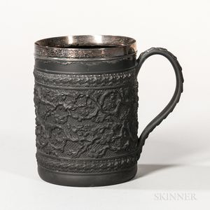 Wedgwood & Bentley Black Basalt Silver-mounted Cider Mug