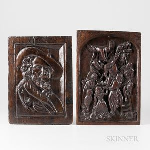 Two Carved Oak Panels