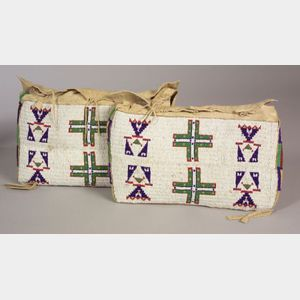 Pair of Central Plains Beaded Hide Possible Bags
