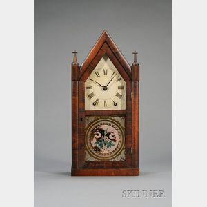 """Mahogany Sharp Gothic or """"Steeple"""" Clock by Brewster and Ingrahams"""
