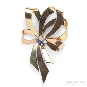Retro 14kt Bicolor Gold, Sapphire, and Diamond Brooch, Tiffany & Co.