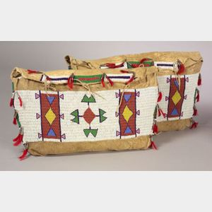 Pair of Central Plains Beaded Buffalo Hide Possible Bags
