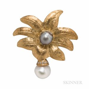 18kt Gold, Baroque Pearl, and Diamond Brooch