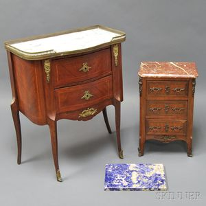 Two Louis XV-style Ormolu-mounted Marble-top Chests