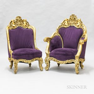 Ornate Rococo-style Carved and Gilt Fauteuil and Side Chair