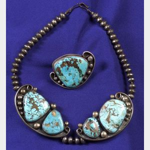 Silver and Turquoise Necklace and Ring