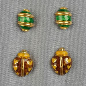 Two Pairs of 18kt Gold and Enamel Earstuds, Tiffany & Co.