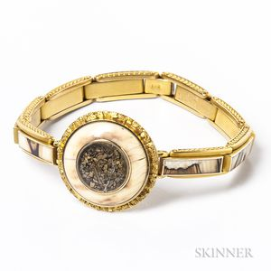Antique 14kt Gold and Hardstone Bracelet