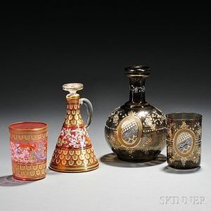 Three Pieces of Moser-type Gilded and Enameled Glass