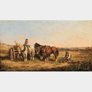 Edmund Aylburton Willis (American, 1808-1899)    Hitching the Plow