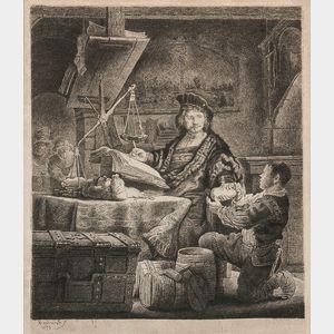 Rembrandt Harmensz van Rijn (Dutch, 1606-1669)      Jan Uytenbogaert, The Goldweigher