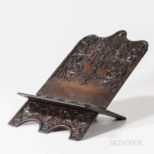 Dutch Carved Oak Folding Book Stand