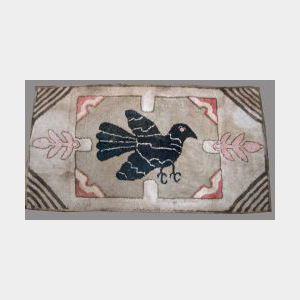 Wool and Cotton Hooked Rug with a Blackbird