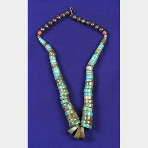 Turquoise, Coral and Silver Bead Necklace
