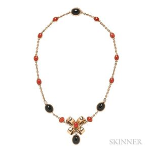 18kt Gold, Coral, and Onyx Necklace