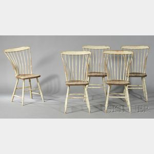 Set of Five White-painted and Grained Shaped Tablet-top Windsor Side Chairs