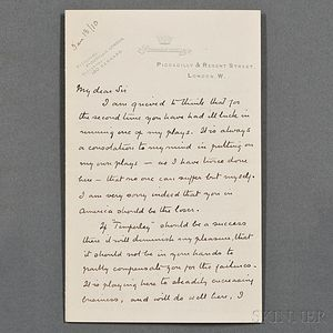 Doyle, Sir Arthur Conan (1859-1930) Autograph Letter Signed, London, 18 January 1910.