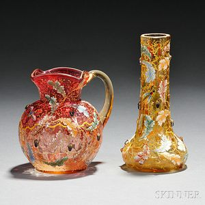 Two Moser Gilded and Enameled Glass Vessels