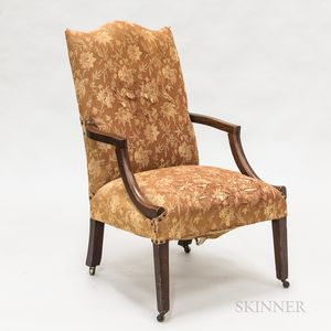 Federal Upholstered Mahogany Lolling Chair