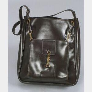 """Chocolate Brown """"Sacoche"""" Leather Bag"""