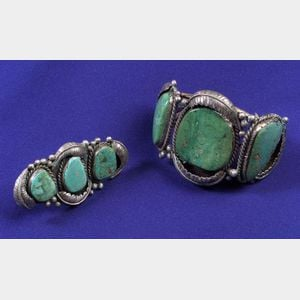 Silver and Turquoise Cuff Bracelet and Ring
