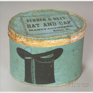 Oval Covered Top Hat Box and Hat