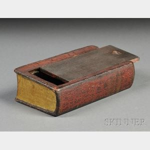 Carved and Painted Wooden Book-form Slide-lid Box